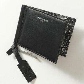 SAINT LAURENT サンローランパリ 378005 0O78E 1007 レザー マネークリップ付き 二つ折り財布 小銭入れなし メンズ