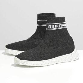 MIUMIU ミュウミュウ 5T070C 3L1B F0967 ジャガードロゴ ラメ ソックスシューズ ハイカット スニーカー 靴 NERO レディース