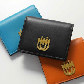 MIUMIU ミュウミュウ 5MV204 2CEI カラー3色 レザー 二つ折り財布 スモール ミニ財布 メタルロゴ レディース