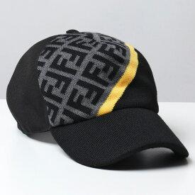 FENDI フェンディ FXQ768 AEVF F0A2Y マルチカラーキャンバス ベースボールキャップ 帽子 FFロゴ ズッカ柄 GREY+BLACK+YELLOW メンズ