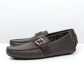 FENDI フェンディ 7D1295 A9S8 F0QR4/MORO+MORO ラバーソール FFパーツ レザー ローファー ドライビングシューズ 靴 メンズ
