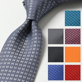 HERMES エルメス CRAVATE FACONNEE 038188T カラー17色 フランス製 シルク ネクタイ H織りタイ ファソネH H柄 ジャガード ブランドBOX付き メンズ