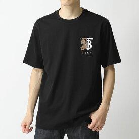 【1,000円OFFクーポン対象!10月1日限定】BURBERRY バーバリー 8023785 1003 クルーネック 半袖 Tシャツ カットソー ロゴT 刺繍 BLACK メンズ