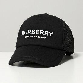 【500円OFFクーポン対象!4月1日限定】BURBERRY バーバリー 8019216 TRUCKER トラッカー ロゴプリント メッシュキャップ ベースボールキャップ 帽子 BLACK レディース