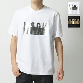 MSGM エムエスジーエム 2841MDM180 カラー2色 半袖 Tシャツ カットソー クルーネック メタリックプリント ロゴ 丸首 メンズ
