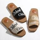 Chloe クロエ CHC19U18808 WOODY ウッディ フラットミュール サンダル ロゴバンド 001/Black 靴 レディース