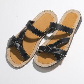 LOEWE ロエベ 453.10.636 SANDALIA GATE FLAT レザー ノット フラット サンダル 1100/BLACK 靴 レディース