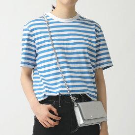 MAISON MARGIELA メゾンマルジェラ 10 S50GC0608 S23597 【1枚単品】 Stereotype クルーネック 半袖 Tシャツ ボーダー コットン 961/ブルー×ホワイト レディース