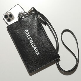 【1,000円OFFクーポン対象!12日0時〜23時59まで】BALENCIAGA バレンシアガ 616015 1IZI3 1090 レザー コイン&カードケース 携帯ケース ネックポーチ パスポートケース BLACK/L-WHITE フラグメントケース メンズ