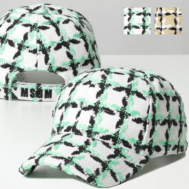 【500円OFFクーポン対象!6月1日限定】MSGM エムエスジーエム 2842 MDL105 カラー2色 ツイード ベースボールキャップ 帽子 レディース