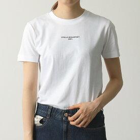 STELLA McCARTNEY ステラマッカートニー 600422 SNW81 9000 クルーネック 半袖 Tシャツ カットソー ちびロゴ フィット ショート丈 レディース