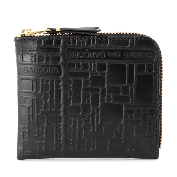 COMME des GARCONS コムデギャルソン SA3100EL エンボスロゴ L字ファスナー ミニ財布 豆財布 カードケース 小銭入れ コインケース カラーBLACK 10692