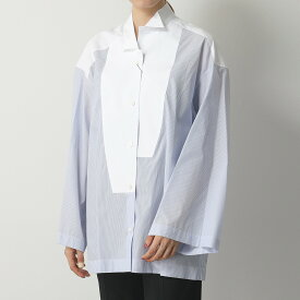 LOEWE ロエベ S2109410GH Oversize Shirt ワイドスリーブ 長袖シャツ アシメ ウィングカラー ブラウス 6413/BLU レディース