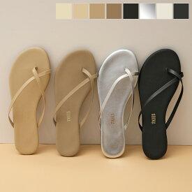 TKEES ティキーズ RILEY カラー6色 レザー クロス トングサンダル フラットサンダル リゾート スムース 靴 レディース【CP_20】