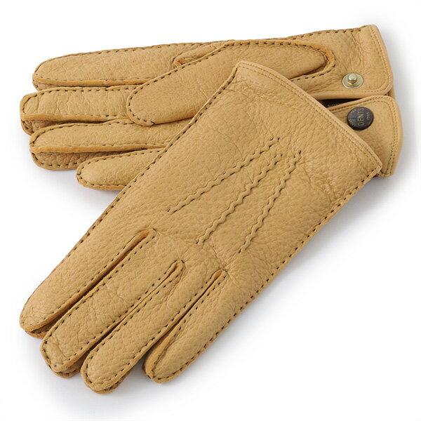 DENTS デンツ 15-1046 TRAFAGAR ペッカリーレザー グローブ カシミア 手袋 手ぶくろ アームウェア カラーCork/イエロー メンズ