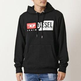 DIESEL ディーゼル A00339-0IAJH S-GIRK-HOOD-CUTY ロゴ プリント パーカー スウェット プルオーバー ブラック メンズ