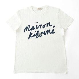MAISON KITSUNE メゾンキツネ 04287 AM0104KJ 0008 HANDWRITING クルーネック 半袖 Tシャツ カットソー 丸首 カラーLATTE メンズ
