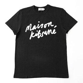 MAISON KITSUNE メゾンキツネ 04287 AM00104KJ 0008 HANDWRITING クルーネック 半袖 Tシャツ カットソー 丸首 カラーBLACK メンズ