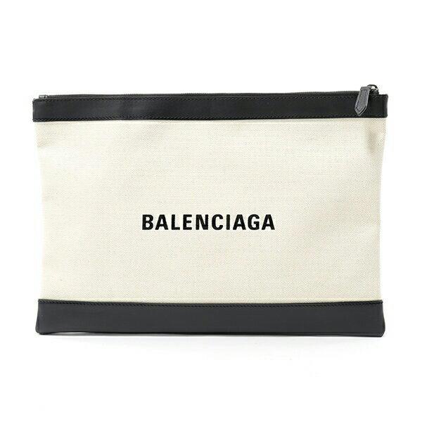 BALENCIAGA バレンシアガ 373840 AQ38N NAVY CLIP M キャンバス×レザー クラッチバッグ ポーチ カラー9260/ナチュラル×ブラック ユニセックス