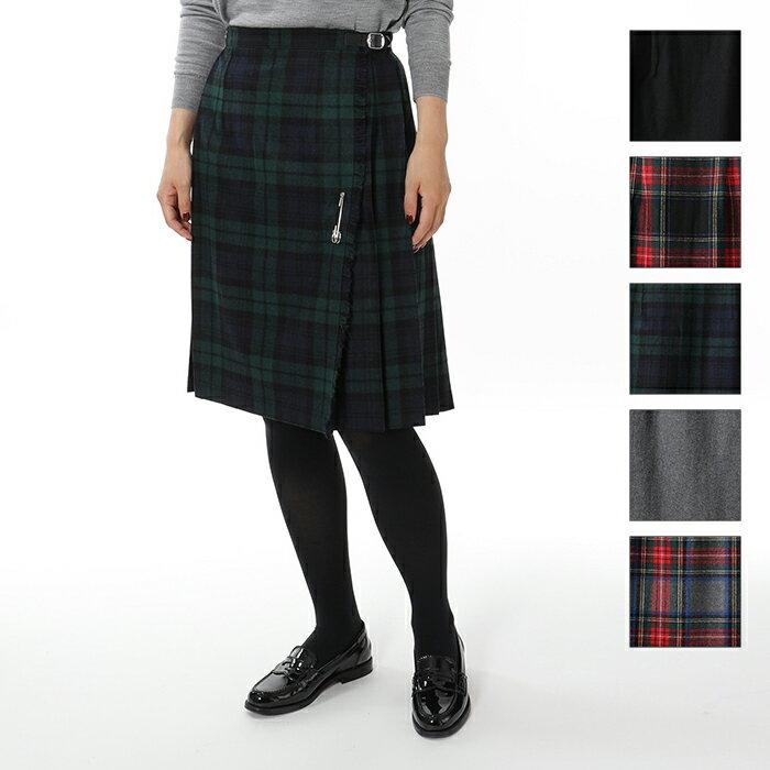 O'NEIL OF DUBLIN オニールオブダブリン 59cm ウール×ポリエステル キルト チェック スカート シングルベルト 5色 レディース