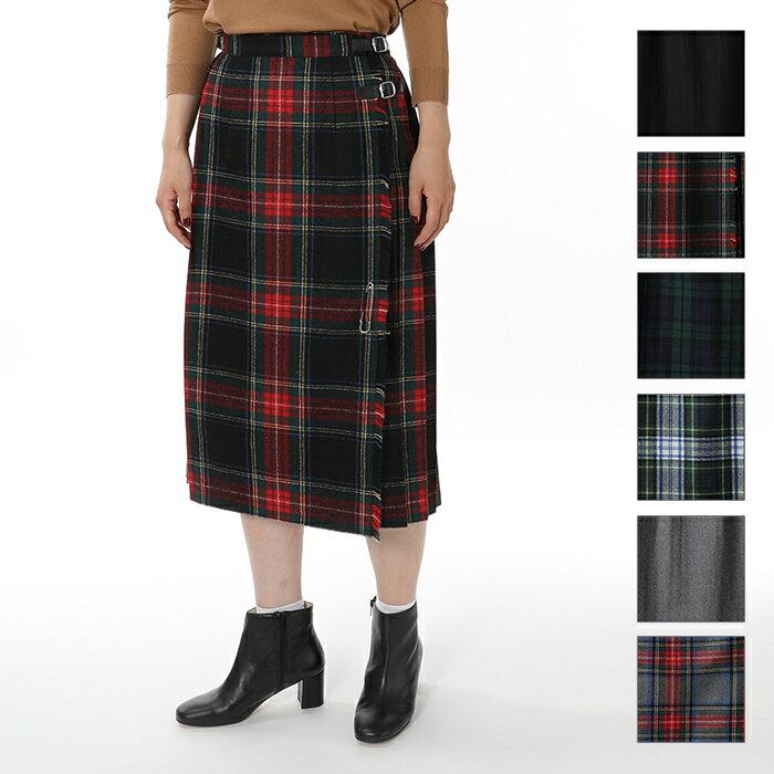 O'NEIL OF DUBLIN オニールオブダブリン 73cm ウール×ポリエステル キルト コンビチェック ミモレ丈スカート ダブルベルト 6色 レディース