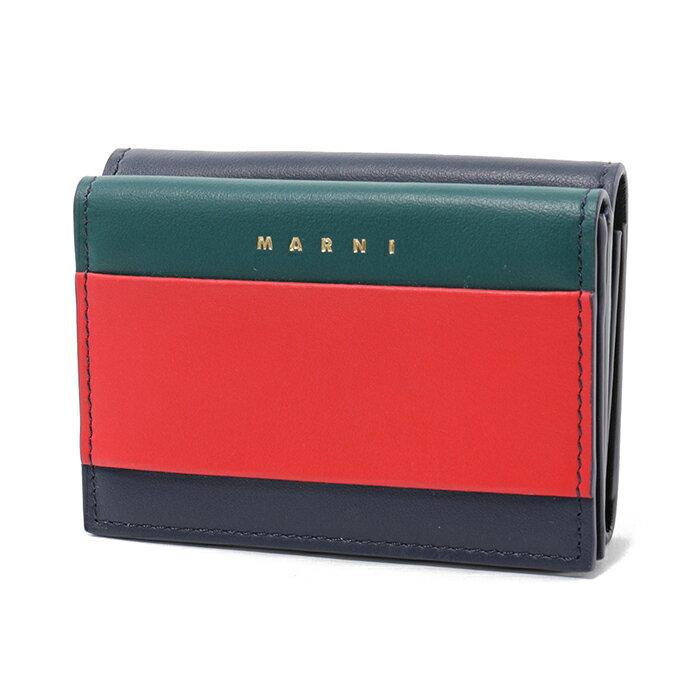 MARNI マルニ PFMOW02L00 LV589 Z131U コインケース付き3つ折財布 レザー DARK-TEAL-RED/マルチ レディース