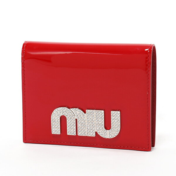 MIUMIU ミュウミュウ 5MV204 069 F0011 パテントレザー 二つ折り財布 スモール ミニ財布 豆財布 ROSSO レディース
