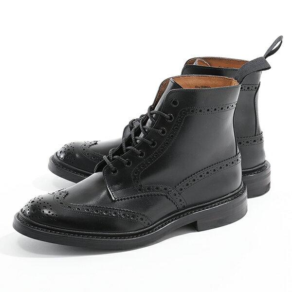 Tricker's トリッカーズ STOW 5634/9 DAINITE SOLE 5 FIT ストウ ブローグブーツ 革靴 ショートブーツ ウィングチップ BLACK メンズ