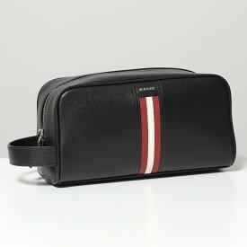 BALLY バリー TAKIMO LT 10 レザー セカンドバッグ ポーチ ハンドバッグ バリーストライプ BLACK メンズ