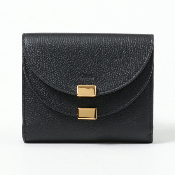 Chloe クロエ CHC16SP285043 レザー Wフラップ 二つ折り財布 ミディアム スモール財布 001/BLACK レディース