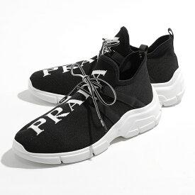 【2,000円OFFクーポン対象!11月1日限定】PRADA プラダ 1E344L 3V98 F0967 ニットスニーカー レースアップシューズ 靴 NERO+BIANCO 靴 レディース