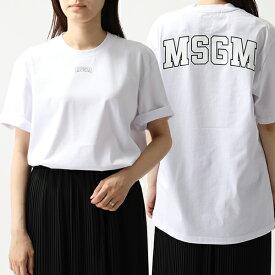 MSGM エムエスジーエム 2641 MDM179 オーバーサイズ 半袖 Tシャツ クルーネック ビッグシルエット カットソー ちびロゴ 01 レディース