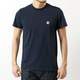 MAISON KITSUNE メゾンキツネ AM00103KJ0008 FOX HEAD PATCH 半袖 Tシャツ カットソー クルーネック 丸首 NAVY メンズ