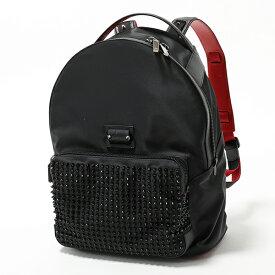 Christian Louboutin クリスチャンルブタン 1195141 B260 Backloubi Backpack スパイク スタッズ装飾 レザー バックパック リュック バッグ BLACK メンズ