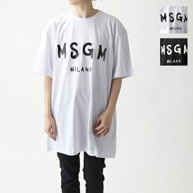 MSGM エムエスジーエム MDA168 MDA68 DRESS ペイントロゴ オーバーサイズ Tシャツ チュニック ワンピース カラー2色 レディース