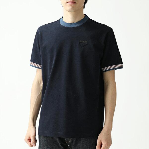 PRADA プラダ UJN452 1TDW F0XX2 半袖 Tシャツ カットソー クルーネック 丸首 鹿の子 NAVY+DIVISA メンズ