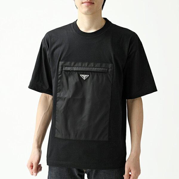 PRADA プラダ UJN537 1S9T F0002 半袖 Tシャツ カットソー クルーネック 丸首 フロントポケット 三角ロゴ金具プレート NERO メンズ