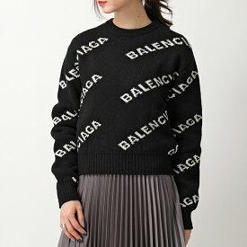 BALENCIAGA バレンシアガ 555272 T1471 1070 ウール混 ロゴ 長袖ニット セーター ショート丈 1070/BLACK-WHITE レディース
