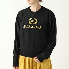 BALENCIAGA バレンシアガ 542607 T1478 1000 ウール ロゴ刺繍 長袖 ニット セーター レディース