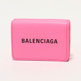 BALENCIAGA バレンシアガ 551921 DLR1N 5610 ネオンカラー レザー 三つ折り財布 ミニ財布 豆財布 PINK レディース
