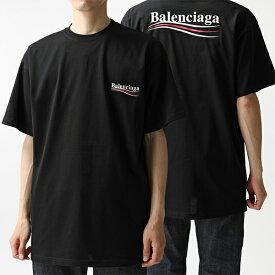 BALENCIAGA バレンシアガ 508203 TAV44 1000 オーバーサイズ 半袖 Tシャツ クルーネック カットソー ロゴプリント 1000 メンズ