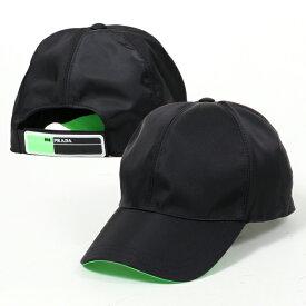 PRADA プラダ 2HC274 074 F0JNF ネオンカラー切替 ベースボールキャップ 帽子 ラバーロゴ NERO+VERDE-FLUO メンズ