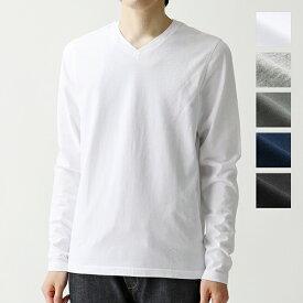 three dots スリードッツ Vネック 長袖 Tシャツ ロングスリーブ カットソー 無地 BO2V 649 カラー5色 メンズ