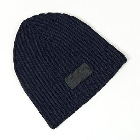 PRADA プラダ UMD372 IZH F0008 ウール ニット帽 ニットキャップ リブ 帽子 ビーニー BLEU メンズ