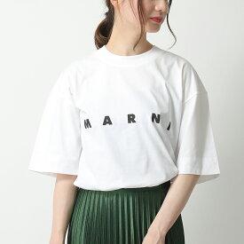 MARNI マルニ THJET49EPB SCP89 クルーネック オーバーサイズ 半袖 Tシャツ カットソー ロゴT L0W01/LILY-WHITE レディース