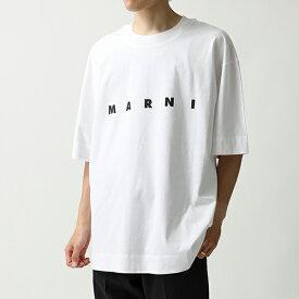 MARNI マルニ THJET49EPB SCP89 クルーネック オーバーサイズ 半袖 Tシャツ カットソー ロゴT L0W01/LILY-WHITE メンズ