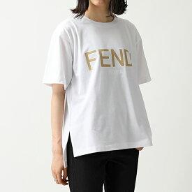 FENDI フェンディ FAF077 A8XA オーバーサイズ 半袖 Tシャツ クルーネック ビッグシルエット ロゴ カットソー F0ZNM/WHITE レディース