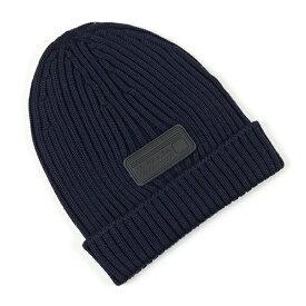 PRADA プラダ UMD429 U97 F0008 ウール ニット帽 ニットキャップ リブ 帽子 ビーニー ラバーロゴタグ BLEU メンズ