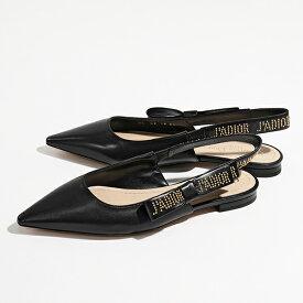 Dior ディオール KCB027 LSRS 21X JADIOR レザー スリングバック パンプス リボン×スタッズロゴ フラットヒール Black-Go 靴 レディース