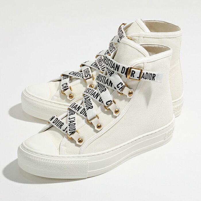 Dior ディオール KCK178 CVAS 06W WALKNDIOR キャンバス ロゴシューレース ハイカット スニーカー シューズ Milk-Milk 靴 レディース